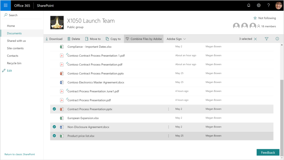 A screenshot displays documents in SharePoint. A Word, Excel, and PowerPoint have been selected and are ready to combine.