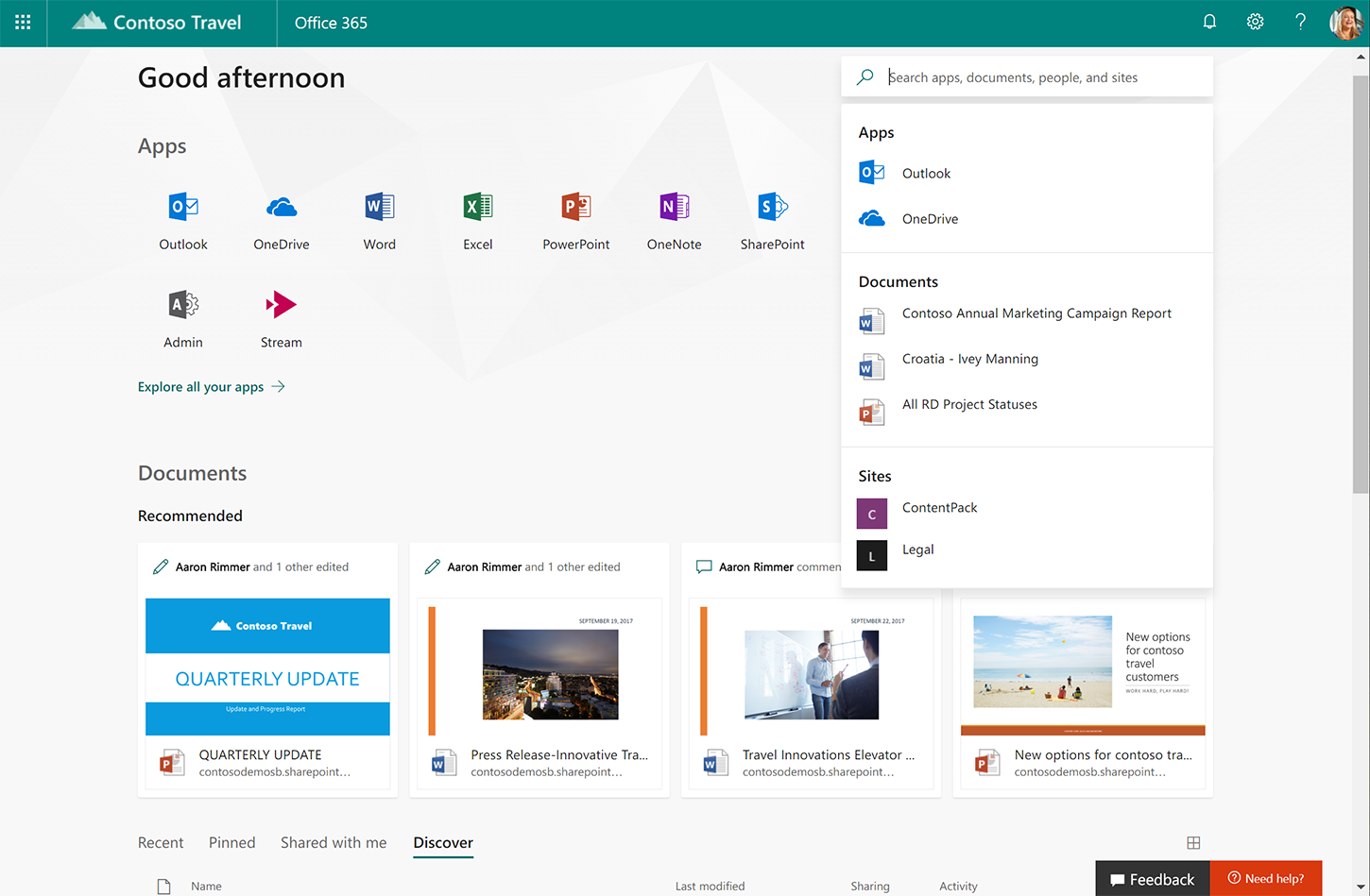Screenshot shows the new Office.com.