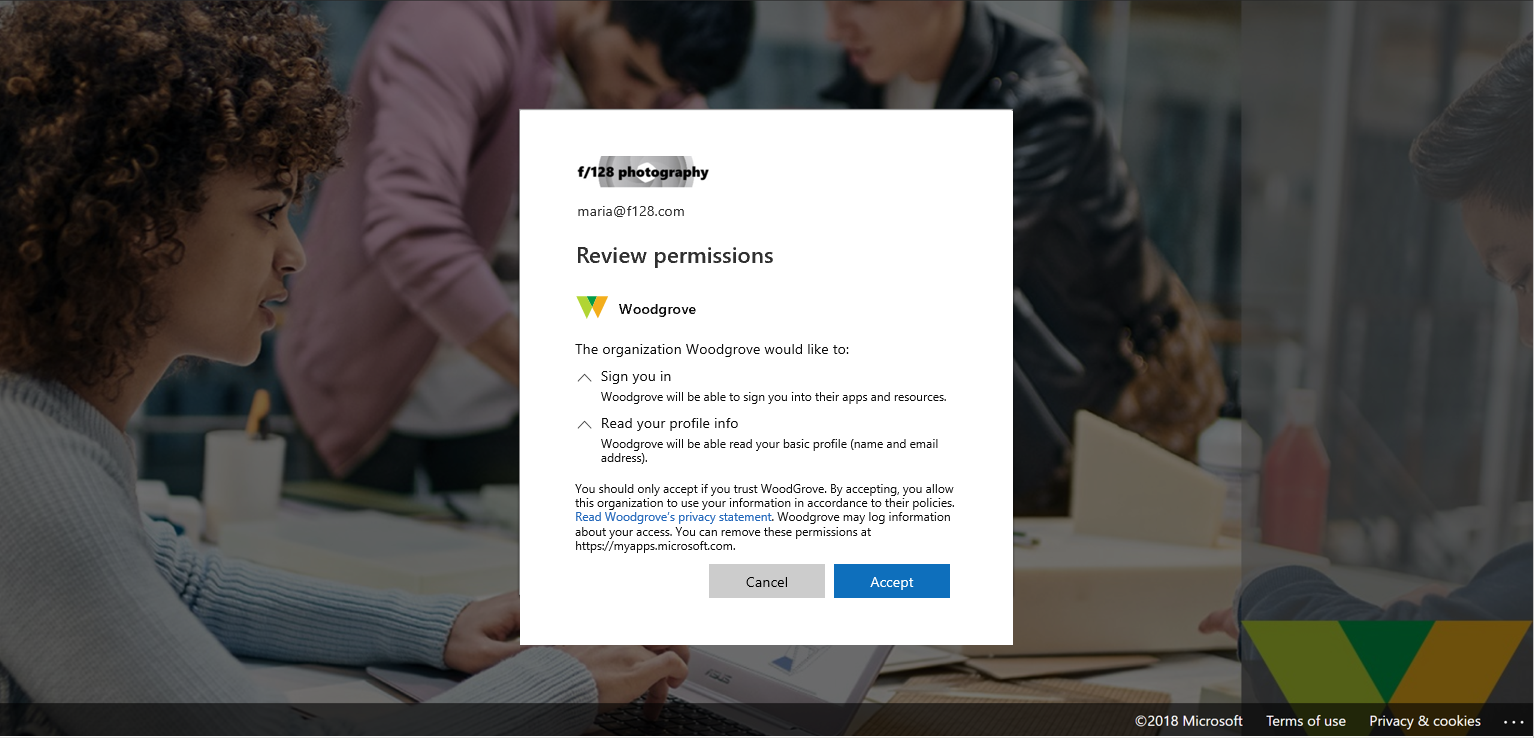 A screenshot from Azure Active Directory's Review permissions tab.