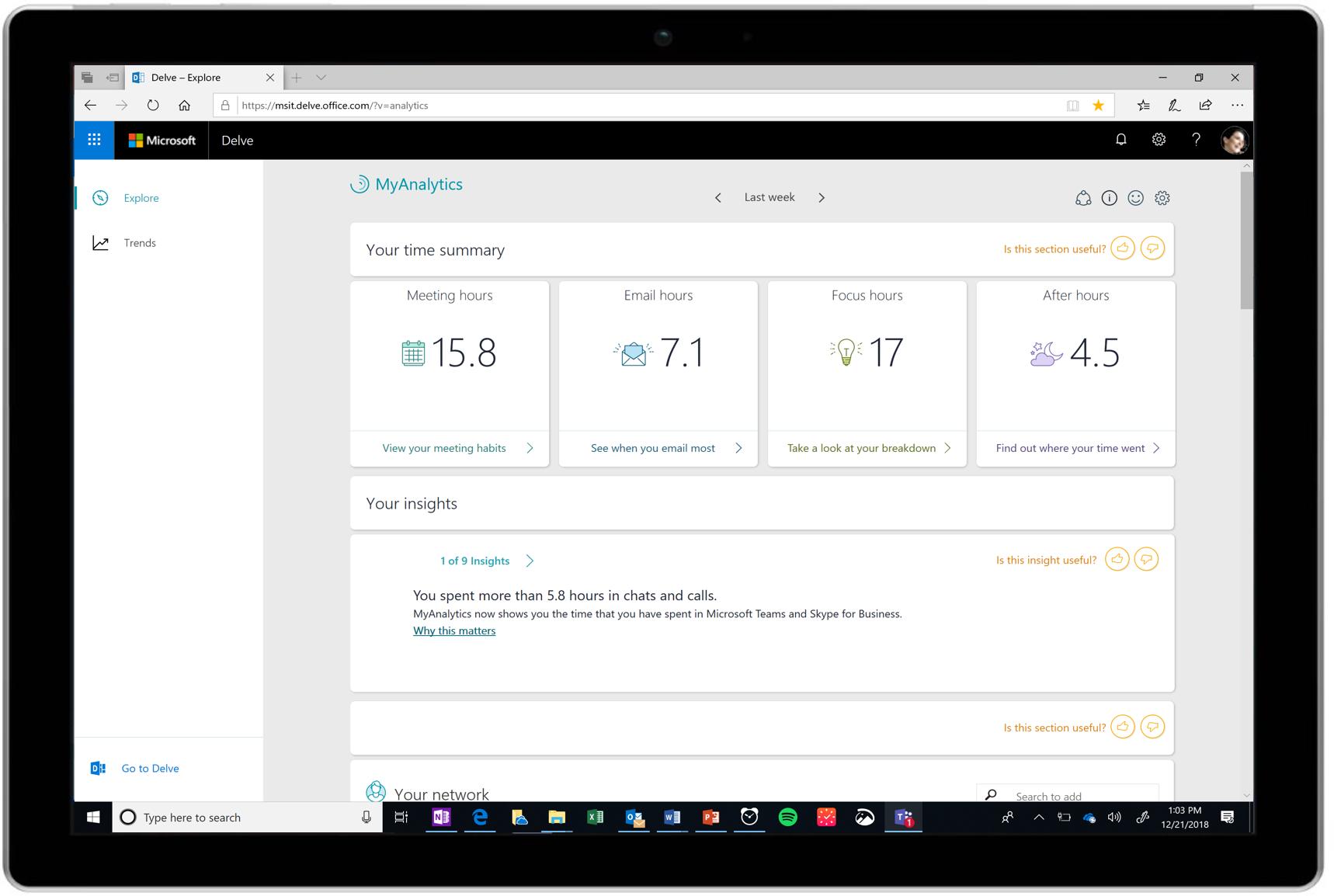 MyAnalytics, il fitness tracker per il lavoro, è ora disponibile a livello generale
