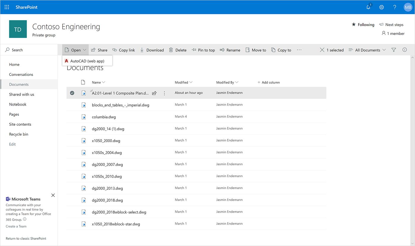 Annuncio di nuove integrazioni con Autodesk AutoCAD per Microsoft OneDrive e SharePoint