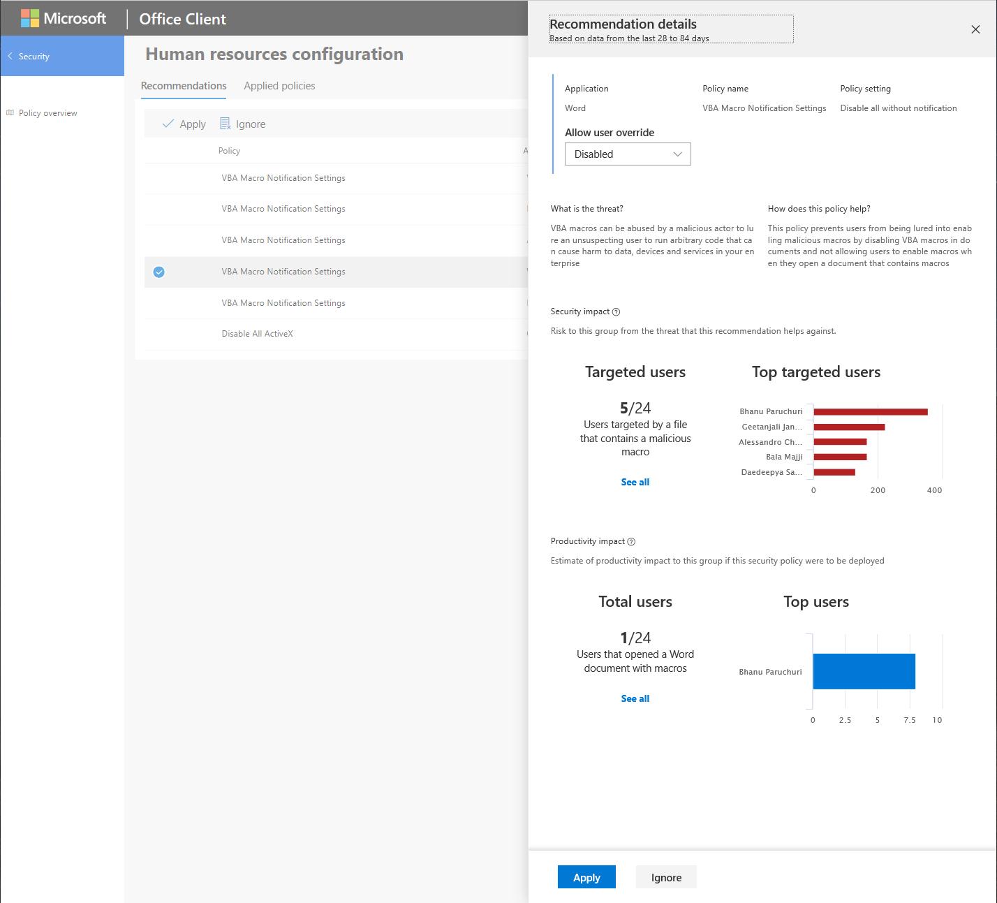 Assistente criteri di sicurezza: un nuovo servizio per gestire i criteri di sicurezza di Office 365