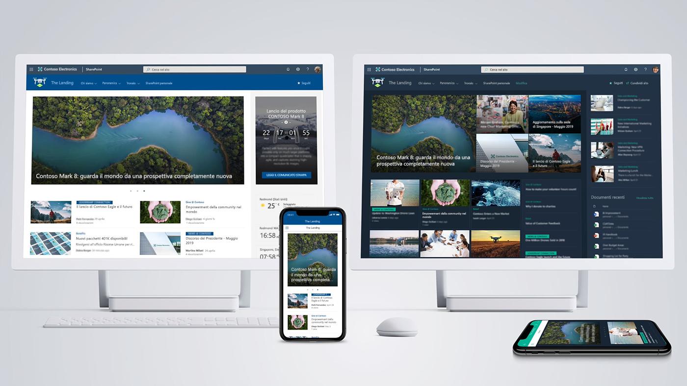 I nuovi siti Home di SharePoint guidano le innovazioni di Microsoft 365 per l'area di lavoro intelligente