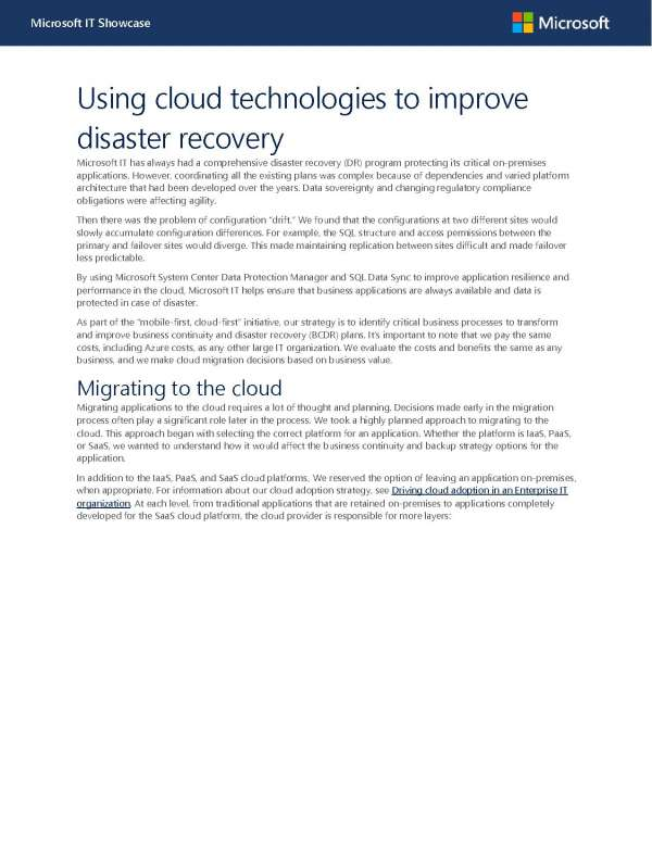 Using cloud technologies to improve disaster recovery