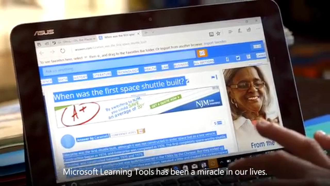 Andrew reads for the first time with Microsoft Learning tools